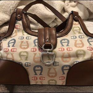 Etienne Aigner vintage purse logo multicolor cream